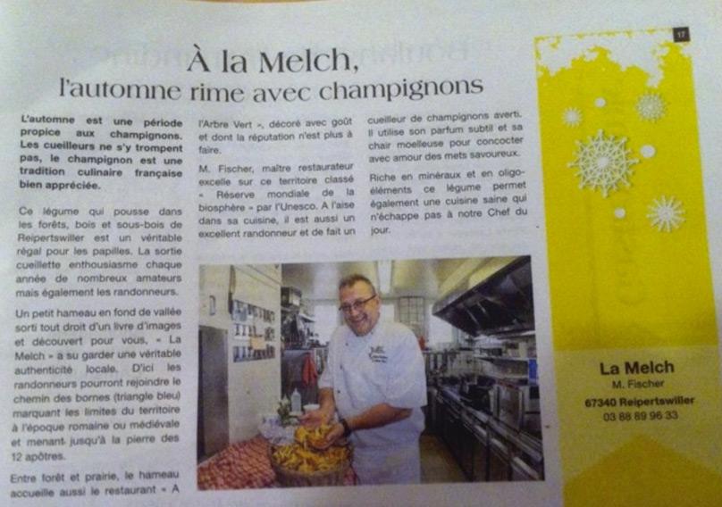 Article de presse du restaurant à l'Arbre Vert à la Melch